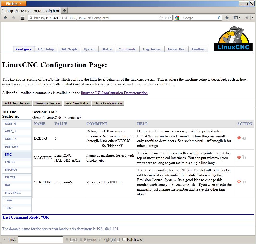 LinuxCNC Documentation Wiki: Rockhopper Web Server
